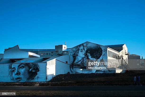Murals on old old industrial unit Revkjavik Iceland