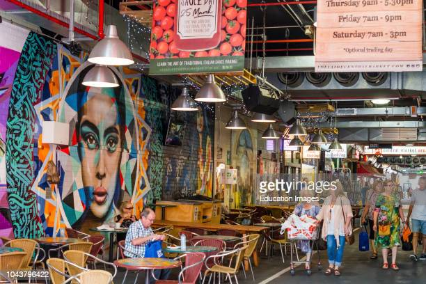 Murals painted on walls at cafe in Central Market Adelaide South Australia