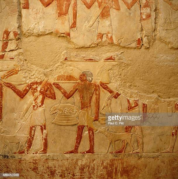 murals, sakkara, egypt - tomb paintings egypt stock photos and pictures