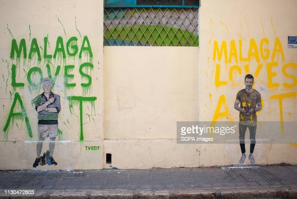 Murals with graffiti of Spanish actor Antonio Banderas and Spanish artist Pablo Picasso are seen at the 'Soho' urban district in down town Malaga The...