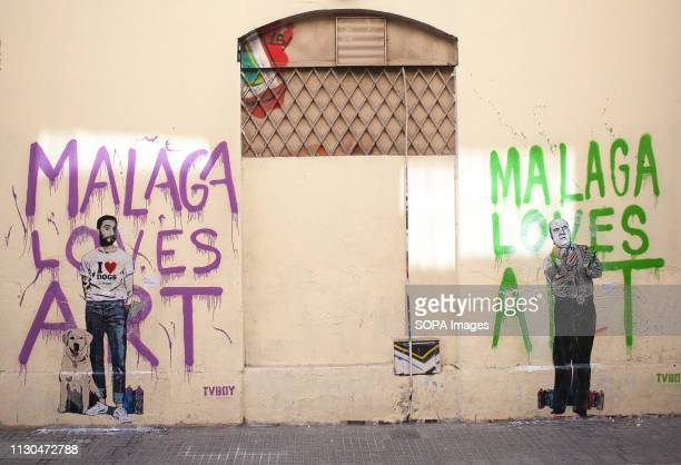 Murals with graffiti of Spanish actor Dani Rovira and Spanish humorist 'Chiquito de la Calzada' are seen at the 'Soho' urban district in down town...