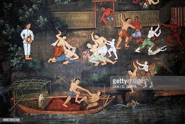 Murals with scenes from the life of Buddha Wat Suwan Dararam Ayutthaya Historical Park Ayutthaya Bangkok Thailand 16th century