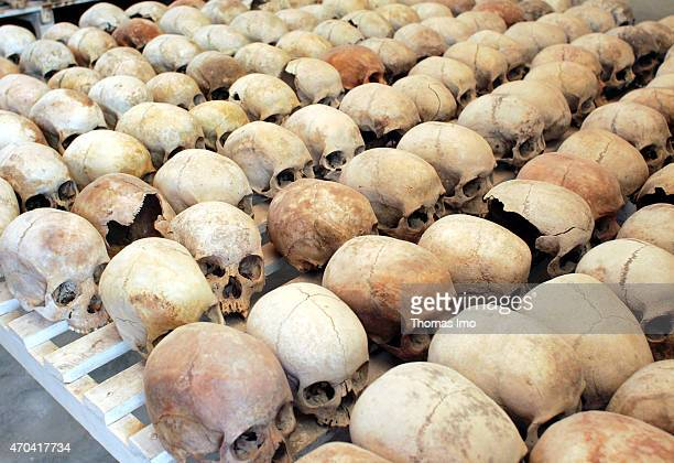 Murambi Genocide Memorial Centre where mortal remains of more than 900 victims of the genocide are preserved on October 31 2004 in Murambi Rwanda The...