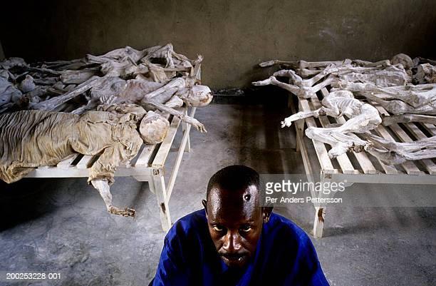 Murangira Emanuel a Genocide survivor at Murambi memorial site on February 14 2003 outside Gikongoro Rwanda Murangira lost his wife and children and...