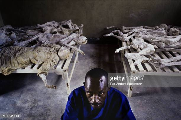 Murangira Emanuel a Genocide survivor at Murambi memorial site on February 14 2003 outside Gikongoro Rwanda Murangira lost his wife and children and...