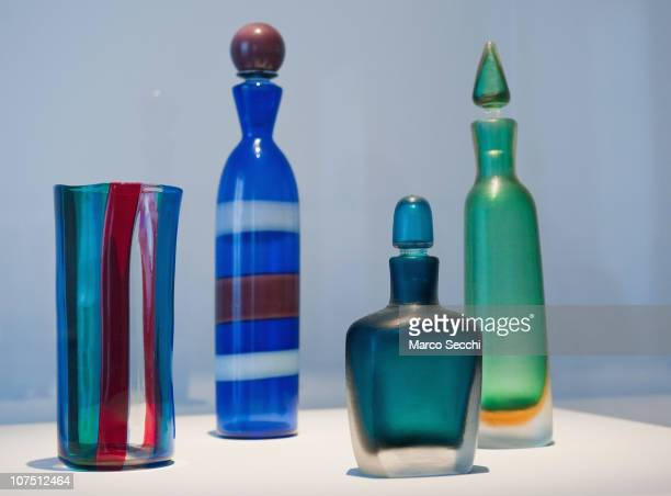 Murano glass bottles by Venini 1950 is on display at the press preview of the exhibition The Adventure of Glass at Museo Correr on December 10 2010...