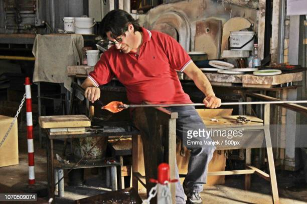 murano worker - blowpipe stock pictures, royalty-free photos & images