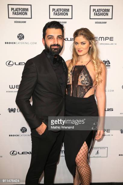 Murat Dagdelen and Christina Braun attend the Thomas Rath show during Platform Fashion January 2018 at Areal Boehler on January 28 2018 in...