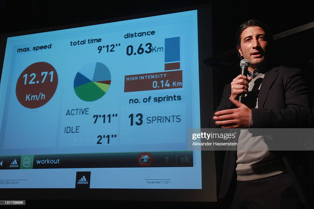 Murat Yakin, head coach of FC Luzern explains the results of the demonstration match of boot functions during the adidas adizero F50 miCoach launch event at Miller studio on November 7, 2011 in Zurich, Switzerland.