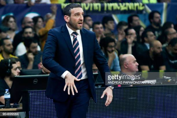 Murcia's Head Coach Ibon Navarro reacts during the final four Champions League basketball game between AEK BC and UCAM Murcia at the OAKA Stadium in...