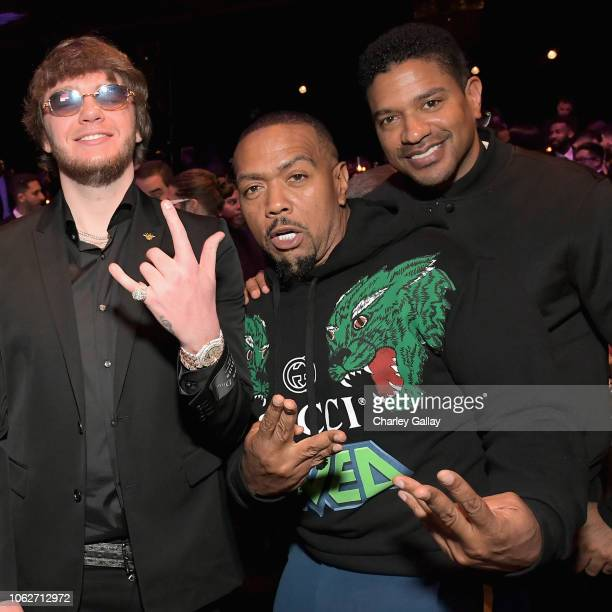 Murda Beatz and Timbaland attend Spotify's Secret Genius Awards hosted by NEYO at The Theatre at Ace Hotel on November 16 2018 in Los Angeles...