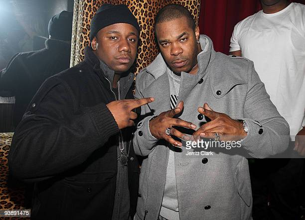 "Murda Mook and Busta Rhymes attend Rihanna's ""Rated R"" album release party at M2 Ultra Lounge on December 3, 2009 in New York City."