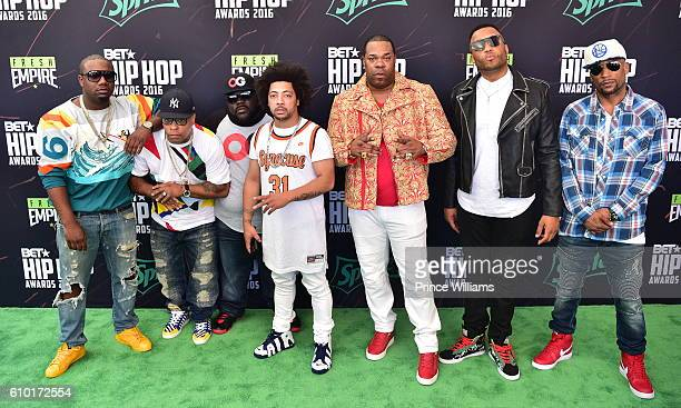 Murda Mook Spliff Star and Busta Rhymes attend the BET Hip Hop Awards 2016 Green Carpet at Cobb Energy Performing Arts Center on September 17 2016 in...