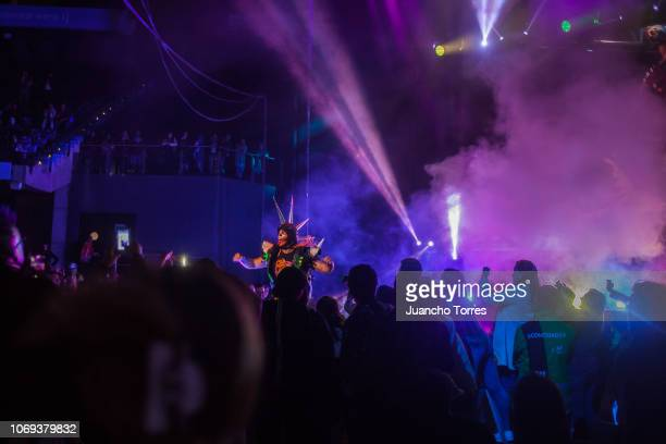 Murder Clown enters the ring during an AAA World Wide Wrestling match on November 16 2018 in Bogota Colombia