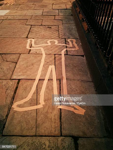 Murder Crime Scene With White Outline Of Man On Sidewalk
