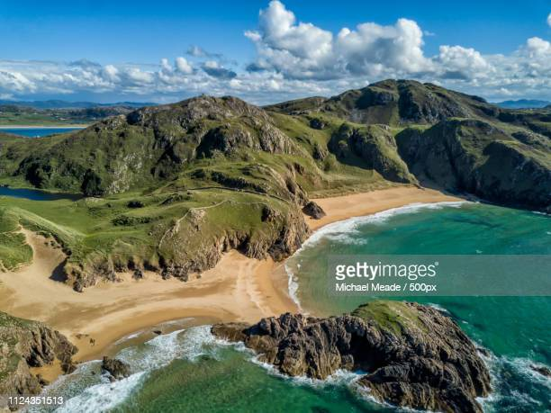 murder hole beach aerial donegal - county donegal stock photos and pictures