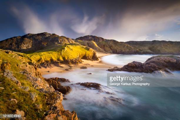 murder hole beach,  boyeeghter bay, melmore, donegal, ireland - county donegal stock photos and pictures