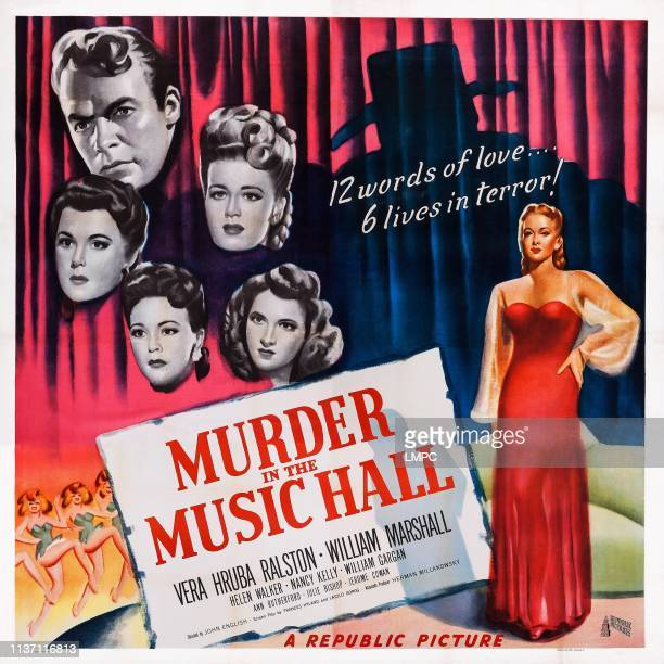 Murder In The Music Hall poster US poster art from top left William Marshall Helen Walker Nancy Kelly Ann Rutherford Julie Bishop Vera Ralston 1946