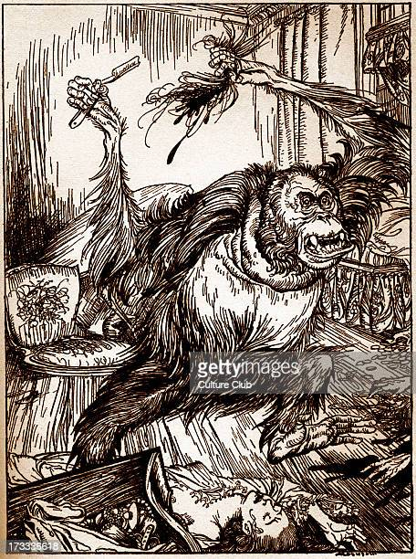 Murder in the Rue Morgue' by Edgar Allan Poe Illustration by Arthur Rackham EAP American author poet 19 January 1809 7 October 1849 Tinted version