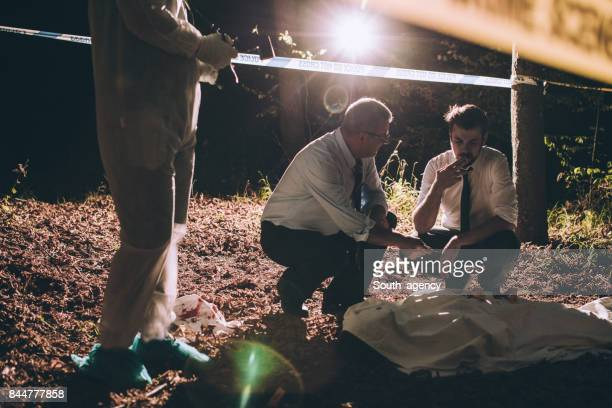 murder scene in forest - criminal investigation stock pictures, royalty-free photos & images