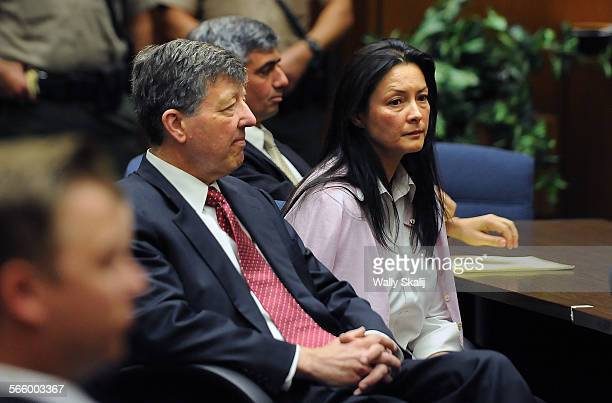 Murder suspect Kelly Soo Park sits next to defense lawyers at the Los Angeles Criminal Courts building in Downtown Los Angeles Monday