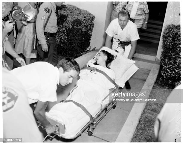 Murder suspect trapped in apartment house at 1114 North Poinsettia Drive in West Hollywood 15 July 1959 Don Decker Mrs Carole Decker Robert Lee...