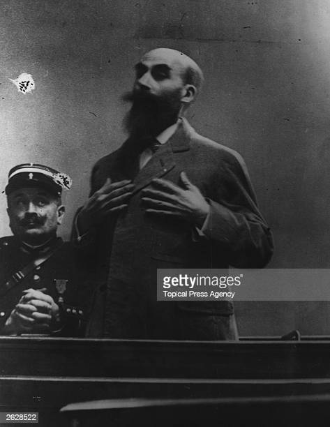 Murderer Henri Desire Landru proclaiming his innocence during his trial Known as the French 'Bluebeard' he was found guilty of the murder of ten...