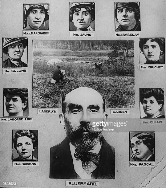 Murderer Henri Desire Landru with his 'wives' Known as 'Bluebeard' he was found guilty of the murder of ten women and a boy and guillotined on 25...