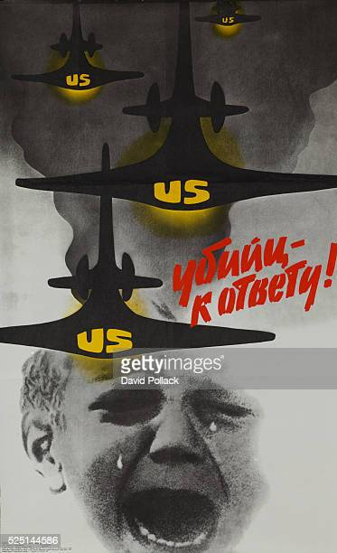 Murders to Answer USSR antiAmerican Protest Poster illustrated by Victor Koretsky 1986 United States aircraft in bombing run over image of crying...
