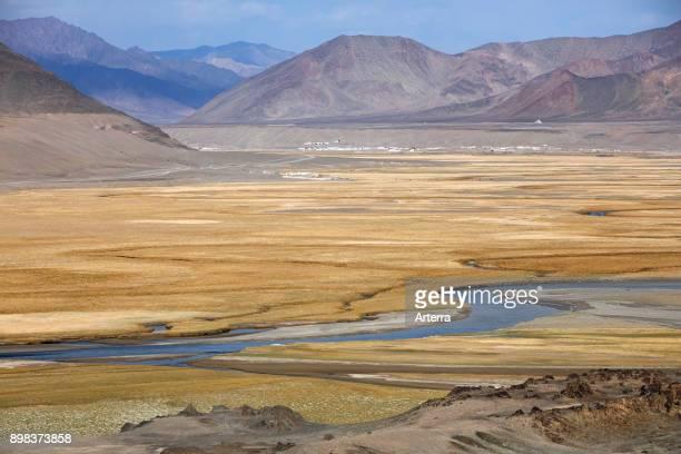 Murghab River valley in the Murghob District in the Pamir Mountains of GornoBadakhshan Autonomous Region Tajikistan