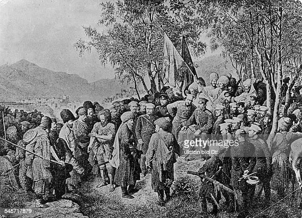 Muriden - Kriege : Die Gefangennahme von Imam Schamyl , Anführer der Aufständischen aus Dagestan durch den russischen General Barjatinskij. -...