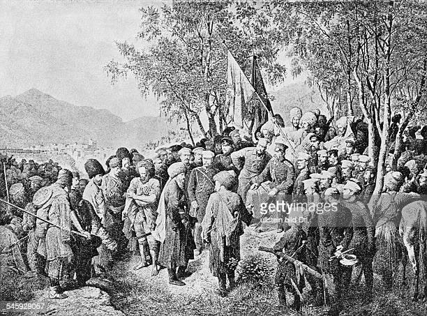 Muriden-Kriege Imam Schamyl , kaukasischer Freiheitskämpfer aus Dagestan gegen Russland.zeitg. Zeichnung von Laurens.