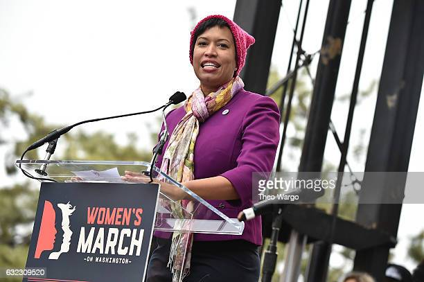 Muriel Bowser attends the Women's March on Washington on January 21 2017 in Washington DC