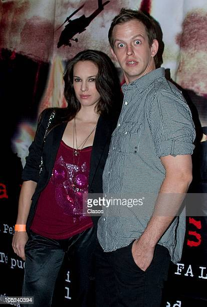 Muriel Hernandez and Randy Ebright pose for a photo at the red carpet of the movie La Milagrosa at Lumiere Reforma on October 12 2010 in Mexico City...