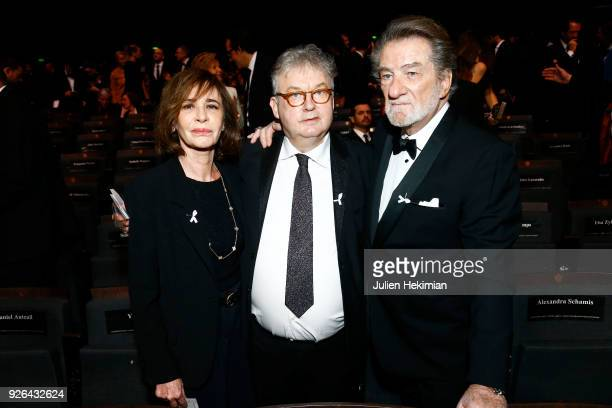 Muriel Mitchell Eddy Mitchell and Dominique Besnehard attend the Cesar Film Awards 2018 at Salle Pleyel on March 2 2018 in Paris France