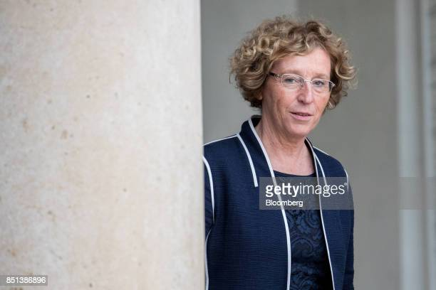 Muriel Penicaud France's minister for labour departs following a cabinet meeting to approve labor law reforms at the Elysee Palace in Paris France on...