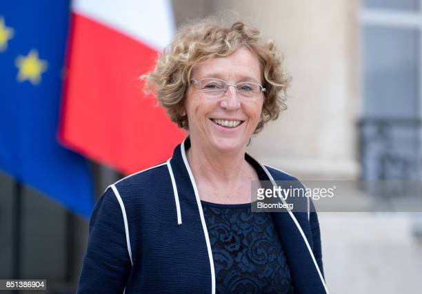 Muriel Penicaud France's minister for labour reacts as she departs following a cabinet meeting to approve labor law reforms at the Elysee Palace in...