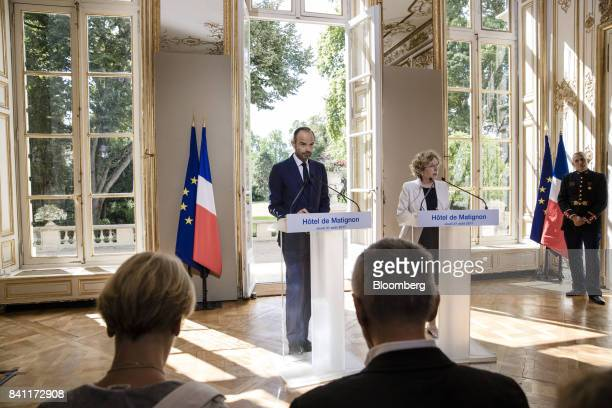 Muriel Penicaud France's minister for labour right speaks as Edouard Philippe France's prime minister looks on during a news conference at Philippe's...