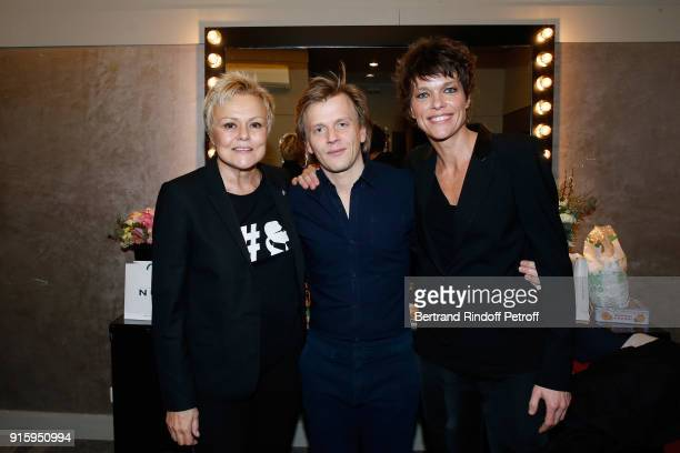 Muriel Robin Alex Lutz and Anne Le Nen pose after the Alex Lutz One Man Show At L'Olympia on February 8 2018 in Paris France