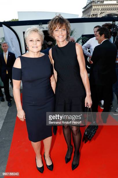 Muriel Robin and Anne Le Nen attend Line Renaud's 90th Anniversary on July 2 2018 in Paris France