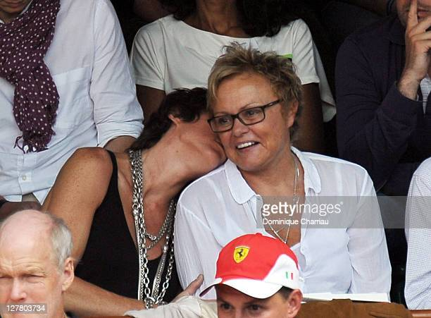 Muriel Robin and Anne Le Nen attend the French open at Roland Garros on June 5 2011 in Paris France