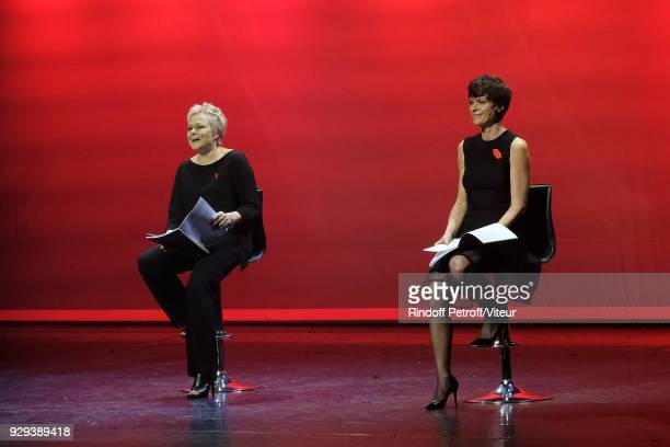 Muriel Robin and Anne Le Nen Perform 'Les Monologues du Vagin' during 'Paroles Citoyennes 10 shows to wonder about the society' at Bobino on March 8...