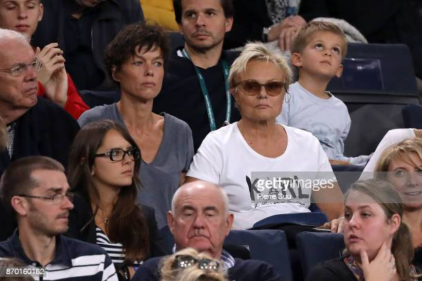 Muriel Robin and her wife Anne Le Nen are seen in the stands during the Rolex Paris Masters at Hotel Accor Arena Bercy on November 3 2017 in Paris...