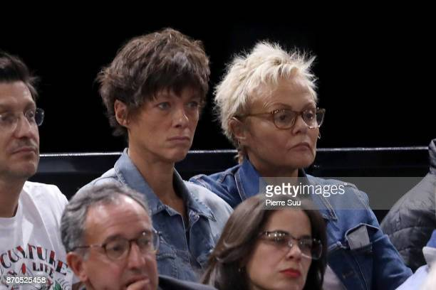 Muriel Robin and her wife Anne Le Nen are seen watching the final during the Rolex Paris Masters at Hotel Accor Arena Bercy on November 3 2017 in...