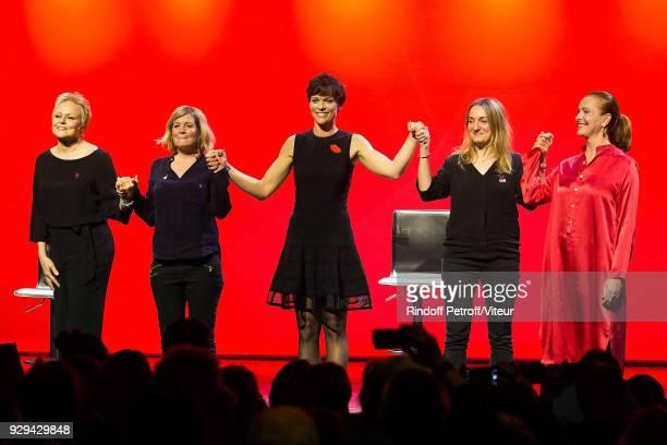 Muriel Robin Coralie Miller Anne Le Nen Marie Astrid Perimony and Carole Bouquet attend 'Les Monologues du Vagin' during 'Paroles Citoyennes 10 shows...