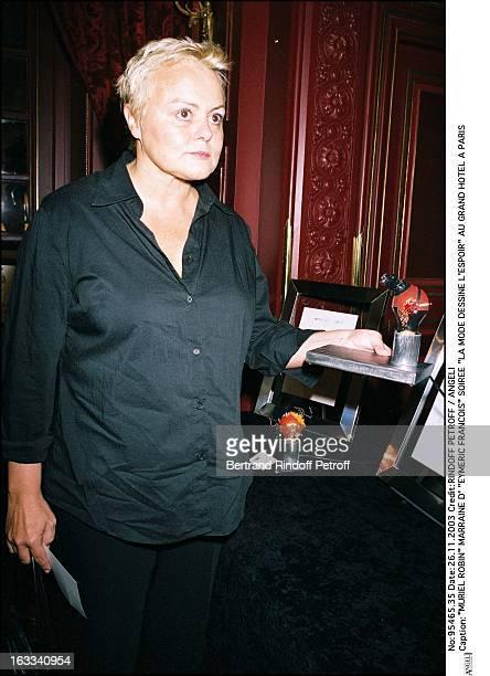"Muriel Robin godmother of ""Eymeric Francois"" party ""La Mode Dessine L'Espoir"" at the Grand Hotel in Paris."