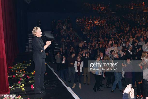 Muriel Robin hi her fans at the end of the final of her show 'Robin Revient Tsointsoin ' Held at Palais des Sports on February 1 2014 in Paris France