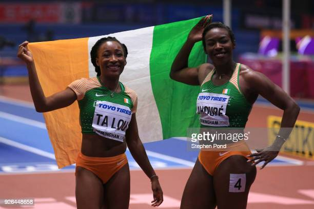 Murielle Ahoure and MarieJosee Ta Lou of Cote D'Ivoire celebrates after the 60 Metres Womens Final during the IAAF World Indoor Championships on Day...