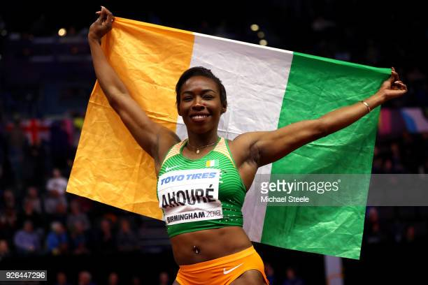 Murielle Ahoure of Cote D'Ivoire celebrates after winning the 60 Metres Womens Final during the IAAF World Indoor Championships on Day Two at Arena...