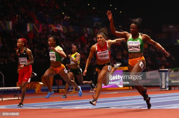 Murielle Ahoure of Cote D'Ivoire wins the 60 Metres Womens Final during the IAAF World Indoor Championships on Day Two at Arena Birmingham on March...